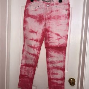 Massimo Supply Co. pink and white skinny jeans